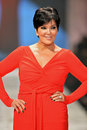 NEW YORK, NY - FEBRUARY 06: Kris Jenner wearing Badgley Mischka walks the runway at The Heart Truth's Red Dress Collection during Royalty Free Stock Photography