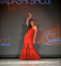 NEW YORK, NY - FEBRUARY 06: Roselyn Sanchez wearing Tadashi Shoji walks the runway at The Heart Truth's Red Dress Collection durin Stock Photos