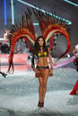New york ny november model lily aldridge walks in the victoria s secret fashion show at lexington avenue armory on Stock Photography