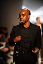 New york ny october the overall general atmosphere and laforce stevens pr working frontstage during x ist fashion show spring Stock Image