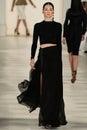 New york ny september a model walks the runway at ralph lauren spring fashion collection Fotografía de archivo libre de regalías
