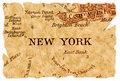 New York old map Royalty Free Stock Photo