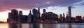 New york panoramic view of manhattan skyline by night Stock Image