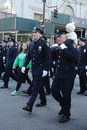 New York Police Department officers marching at the St. Patrick`s Day Parade in New York Royalty Free Stock Photo