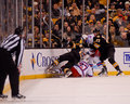 New York Rangers and Boston Bruins collide Stock Photography