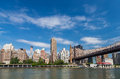New york residential building by east river from roosevelt islan Royalty Free Stock Photo