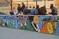 New York School Lunch Break Stock Photo