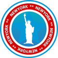 New york seal or button round red white and blue with the words and a silhouette of the statue of liberty Stock Image