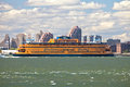New york september the massive staten island ferry departs from battery park in city on it is a free rides that Royalty Free Stock Image