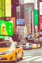 NEW YORK - SEPTEMBER 2, 2018: Yellow cab speeds through Times Sq Royalty Free Stock Photo
