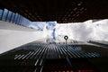 New york skyline from below freedom tower with sky Stock Photos
