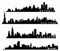 New York skyline, Chicago skyline, Miami skyline, Detroit skyline Royalty Free Stock Photo