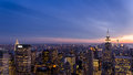 New york skyline of city with skyscrapers after sunset Stock Photo