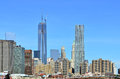 New york skyline with one world trade city manhattan showing the construction of center at full height of feet in the scene also Stock Image