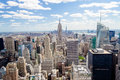 New york skyline panorama over manhattan from the top of the rocks observation deck Royalty Free Stock Image