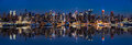 New York skyline reflected in Hudson River Royalty Free Stock Photo