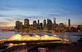 New york skyline seen from brooklyn heights promenade at sunset on september city united states of america usa Stock Photo