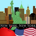 New York Skyline with Statue of Liberty Color Stock Photos