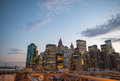 New york skyline summer sunset colors Stock Photography