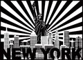 New York Skyline Text Sun Rays vector Illustration Royalty Free Stock Photo