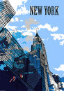 NEW YORK, USA – New York skylines. Hand draw sketch. Postcard Royalty Free Stock Photo