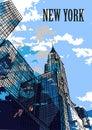 NEW YORK, USA: New York skylines, Chrysler Building. Hand drawn sketch. Postcard Royalty Free Stock Photo