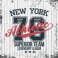 New York sportswear emblem. Athletic university apparel design with lettering