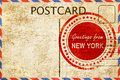 New York Stamp On A Vintage, O...