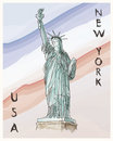 New york statue of liberty hand drawing poster in editable vector file Stock Photos