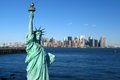 New York: Statue of Liberty, Manhattan skyline Royalty Free Stock Photo