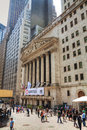 New york stock exchange building city may with tourists on may in the nyse trading floor is located at wall Stock Image