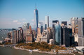 New york stunning helicopter view of lower manhattan skyline on a summer afternoon Royalty Free Stock Photography