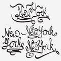New York typography Handmade Writing set Royalty Free Stock Photo