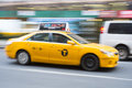 New york us november motion blurred shot of famous new yo yellow taxi in Stock Image