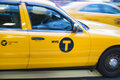 New york us november motion blurred shot of famous new yo yellow taxi in Stock Photos