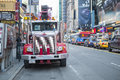 New york us november new york crane engine parked in time times square Royalty Free Stock Photo
