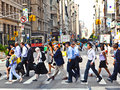 New york usa – july people hurry downtown m manhattan to their offices in early morning on in Stock Photography