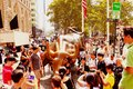 NEW YORK, USA - August 31, 2018: Monument of Charging Bull Financial on Broadway, near Wall Street in the New York with people and Royalty Free Stock Photo