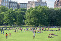 NEW YORK - USA - 14 JUNE 2015 people in central park on sunny sunday Royalty Free Stock Photo