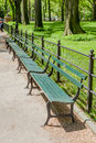 New York, USA- May 20, 2014. Row of empty bench in Central Park, Royalty Free Stock Photo