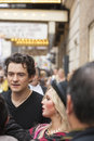 NEW-YORK, USA - OCTOBER 9: Orlando Bloom accompanied young blond Royalty Free Stock Photo