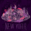 New York. Vintage colorful hand drawn night city landscape. Vector illustration
