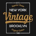 New York vintage graphic for t-shirt. Brooklyn original clothes design with grunge. Authentic apparel typography. Vector.