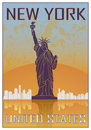 New york vintage poster madrid in orange and blue textured background with skyline in white Stock Photography