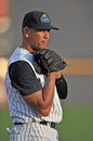 New york yankees baseball player alex rodriguez rehab assignment trenton nj august third baseman on the field for an injury start Royalty Free Stock Photography