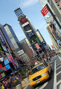 NEW YORK - Yellow taxi cabs Time Square Royalty Free Stock Image
