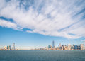 New yorkskyline von hudson river Stockfoto