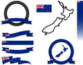 New zealand banner set vector graphic ribbons and banners representing Royalty Free Stock Images