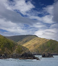 New zealand coast rocks line south island Royalty Free Stock Image