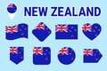 New Zealand flag collection. Vector flat isolated icons with state name. Traditional colors. New Zealand`s flags set. Web, sports